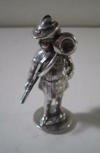 A Finely Cast Antique Figural Silver Seal Of A Huntsman London 1895