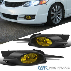 Fit 09 11 Civic 2dr Coupe Amber Fog Lights Driving Bumper Lamps switch h11 Bulbs
