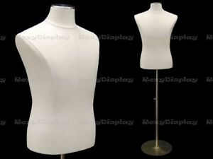 Male White Cover Dress Body Form Mannequin Display jf 33m01pu wh bs 04