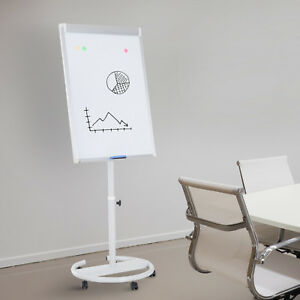 Easel Magnetic White Board Flipchart Dry Erase 28 x40 Height Adjustable Rolling