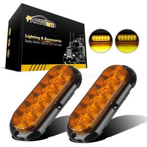 2 6 Amber 6led Oval Truck Trailer Turn Signal Tail Park Lights W Flange Mount