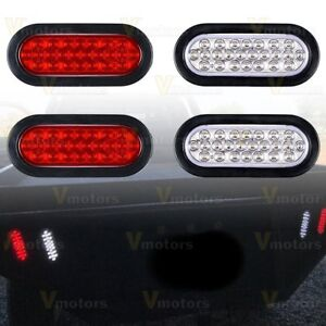 2x White 2x Red 6 24 Led Oval Reverse Backup Clearance Stop turn tail Lights