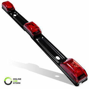 Dot 15 Submersible 3 Red Led Clearance Id Trailer Tail Light Bar W Brake