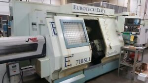 Used Eurotech 710sll Cnc Lathe 1996 Twin Turrets Live Tool Sub Spindle 2 7 Bar