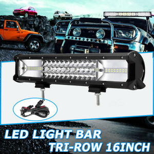 16inch 864w Tri row Led Work Light Bar Flood Spot Combo Off Road Fit For Jeep 12
