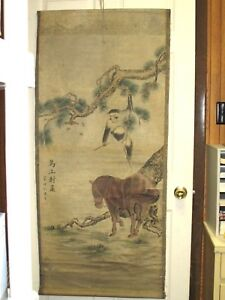 Vintage Chinese Hand Paint Scroll Painting Monkey Horse Tree
