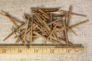 1 3 4 Old Square Nails 1 8 Finish Head 50 Qty Vintage 1880 S Iron Rust Patina