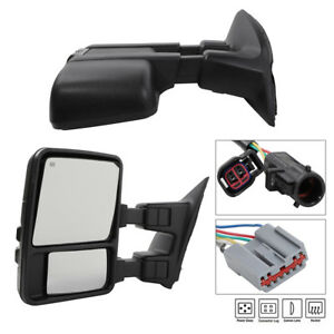 Pair For 99 07 Ford Super Duty Towing Side Mirrors Power Heated Led Smoke Signal