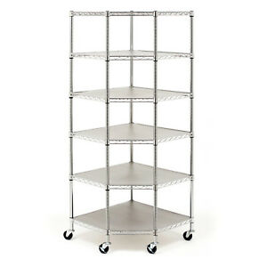 6 Layer Heavy Duty Wire Steel Corner Shelf Unit Garage Storage Shelving Rack New