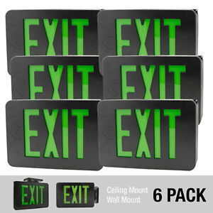 6pack Black Green Led Exit Sign Slim Low Profile With Battery Backup