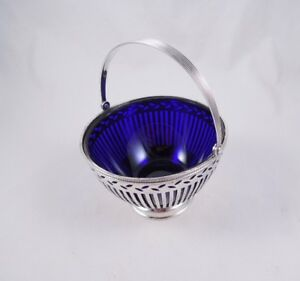 Tiffany Sterling Silver Sugar Basket Cobalt Glass Liner Lovely Piercing Antique