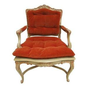 Vintage French Regency Paint Decorated Cane Arm Chair