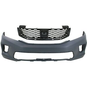 Bumper Cover Kit For 2013 2015 Honda Accord Front 2pc Primed With Grille