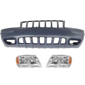 Bumper Cover Kit For 99 2000 Jeep Grand Cherokee Front Sport Utility 3pc