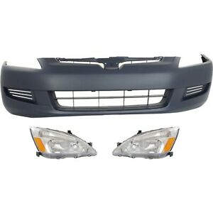 Bumper Cover Kit For 2003 2005 Honda Accord Coupe Front 3 Piece