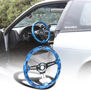2 Deep Dish 350mm 3 spoke Sport Racing Wooden Steering Wheel Ghost Blue Skull