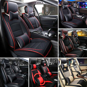 Deluxe Universal 5 seats Car Pu Leather Seat Cover Cushion Front Rear Pillows