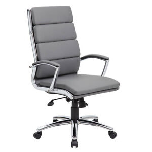 Lot Of 8 Segmented Grey Conference Table Office Chairs With Padded Arms