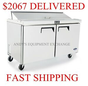 2 door Commercial Restaurant Sandwich Salad Prep Table 60 5 Foot Wide With Pans