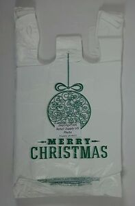 Green Ball Holiday Plastic T shirt Shopping Bags Handles 11 25 X 6 X 21