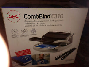 New nib gbc Combbind C110 Binding Machine System Paper Document Binder W extras