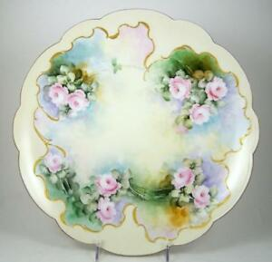 Antique Limoges Plate Hand Painted Pink Roses Artist Signed 13 1 2 Charger