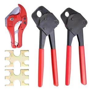 1 2 3 4 Pex Crimper Set Tools W 1 5 8 Ratchet Cutter Go No Go Crimp Plumbing