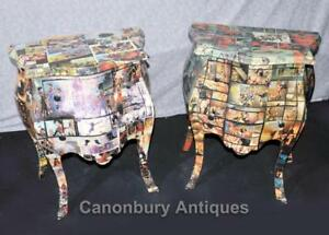 Pair Art Deco Comic Print Chests Drawers Bedside Table Nightstands