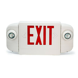 Red White Led Exit Sign Slim Low Profile With Battery Backup