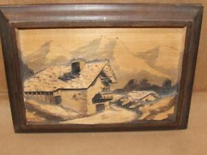 Vtg 60s Switzerland Carved Wood Folk Wall Art Picture Mountain Cabin Signed 10