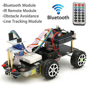 4wd Car Robot Diy Kit Bluetooth Ir Remote Control Tracking Obstacle For Arduino