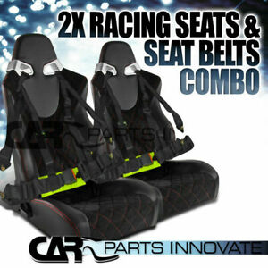 Pair Jdm T R Black Pvc Red Checked Stitch Racing Seats Buckle Seat Belts