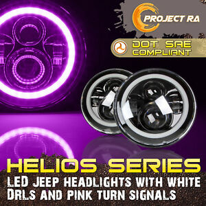 2x 7 Inch Cree Led Headlight Angel Eye Pink Halo Drl Jeep Wrangler Jk Tj Lj