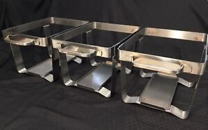 Set Of 3 Half Pan Catering Chafer Chafing Server Zebra 18 8 Stainless Steel