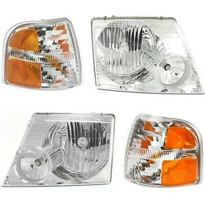 Headlight Kit For 2002 2004 Ford Explorer Left And Right 4pc