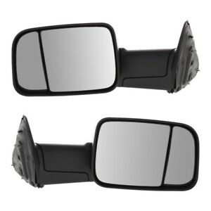 Tow Mirror Set For 2011 2012 Ram 1500 Left Right Side Manual Fold Extendable
