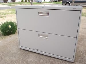 3 Hon Metal Lateral 2 Drawer File Cabinet With Lock Keys Gray Stone Color