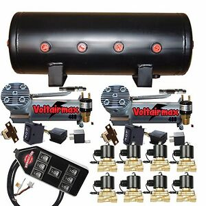 Air Compressors Voltair 480c 3 8 Valves Air Bag Management 5 gal Blk 7 Switch