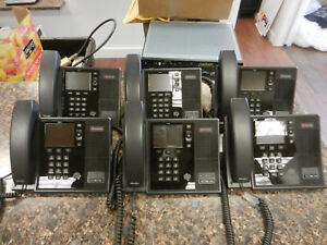 Lot Of 6 Polycom Cx600 Usb Voip Phones With Handsets And Stands 2201 15942 001