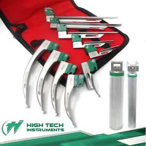 12 Pcs German Laryngoscope Set Fiber Optic Handle Blades Mac Mil 0 1 2 3 4