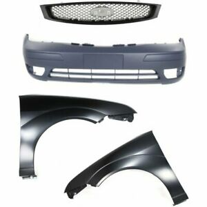 Bumper Cover Kit For 2005 07 Ford Focus Front With Fog Light Holes Provision 4pc