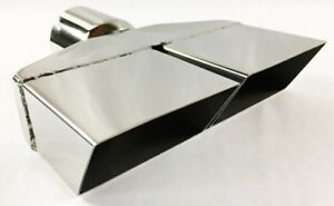 Exhaust Tip 2 50 In Inlet 8 25 X 2 25 Rectangle 8 25 In Long Dual Slanted Spli