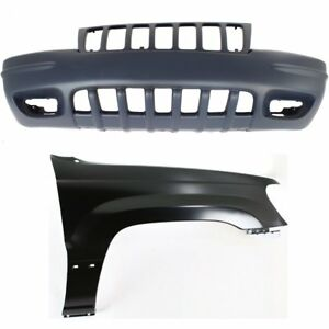 Bumper Cover Kit For 99 2000 Jeep Grand Cherokee Front 2pc With Fender