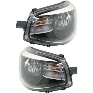 Headlight Set For 2014 2016 Kia Soul Left And Right Black Housing With Bulb 2pc