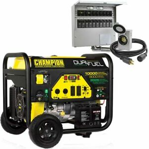 Champion 100297 8000 Watt Electric Start Dual Fuel Portable Generator W 30