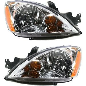 Headlight Set For 2004 Mitsubishi Lancer Wagon Left And Right With Bulb 2pc