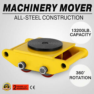 Machinery Mover With 360 rotation Cap 13200lbs 6t 4 Rollers Dolly Skate