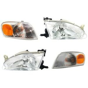 Headlights Headlamps Corner Parking Lights Kit Set For 98 00 Toyota Corolla