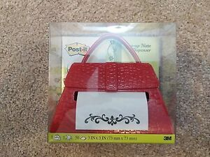 Nrfb New Red Purse Post it Pop up Note Dispenser Faux Alligator Pattern