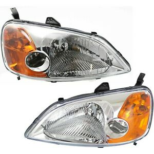 Headlight Set For 2001 2002 2003 Honda Civic Sedan Left And Right With Bulb 2pc